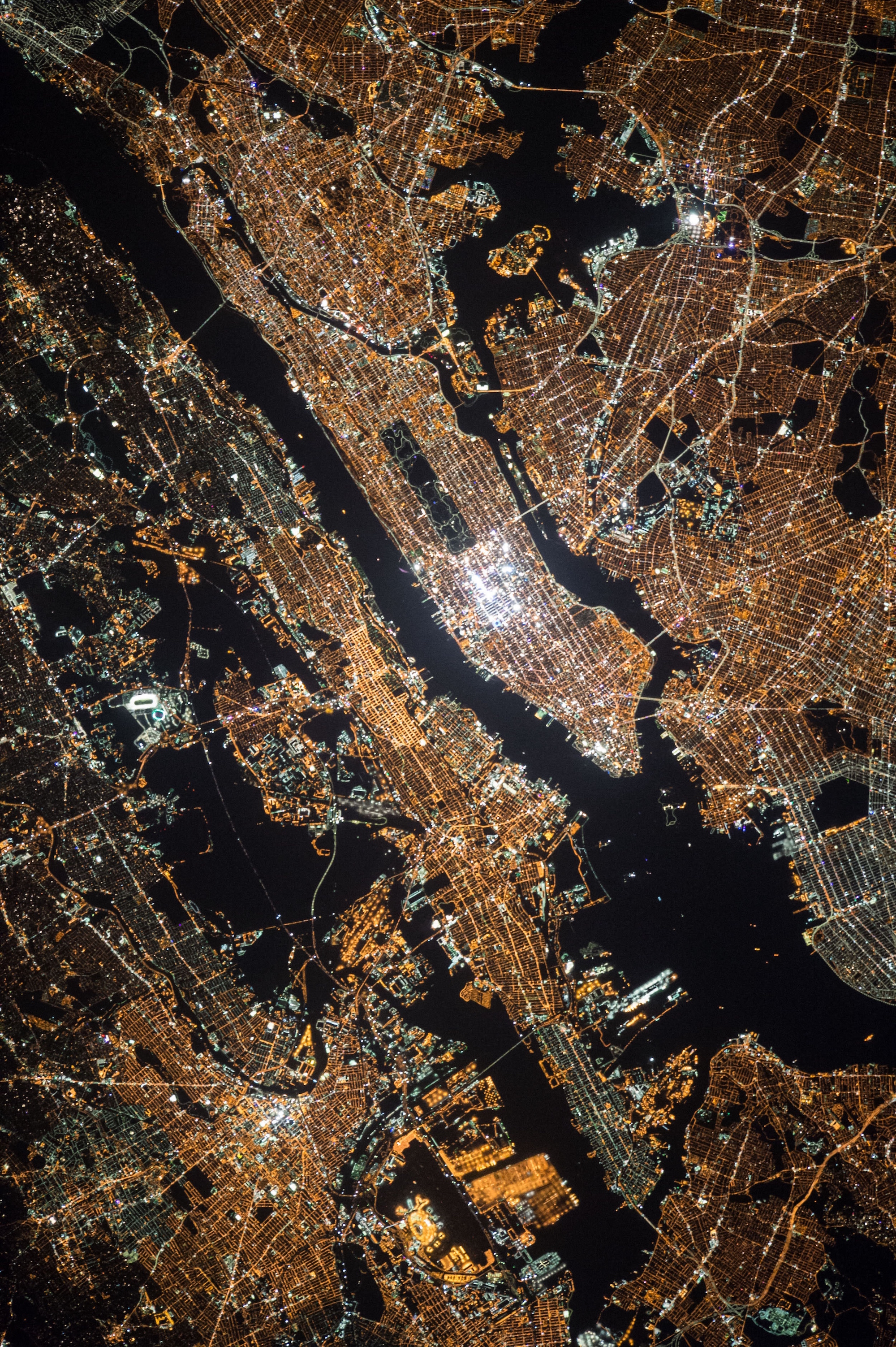 New York by night, viewed from space