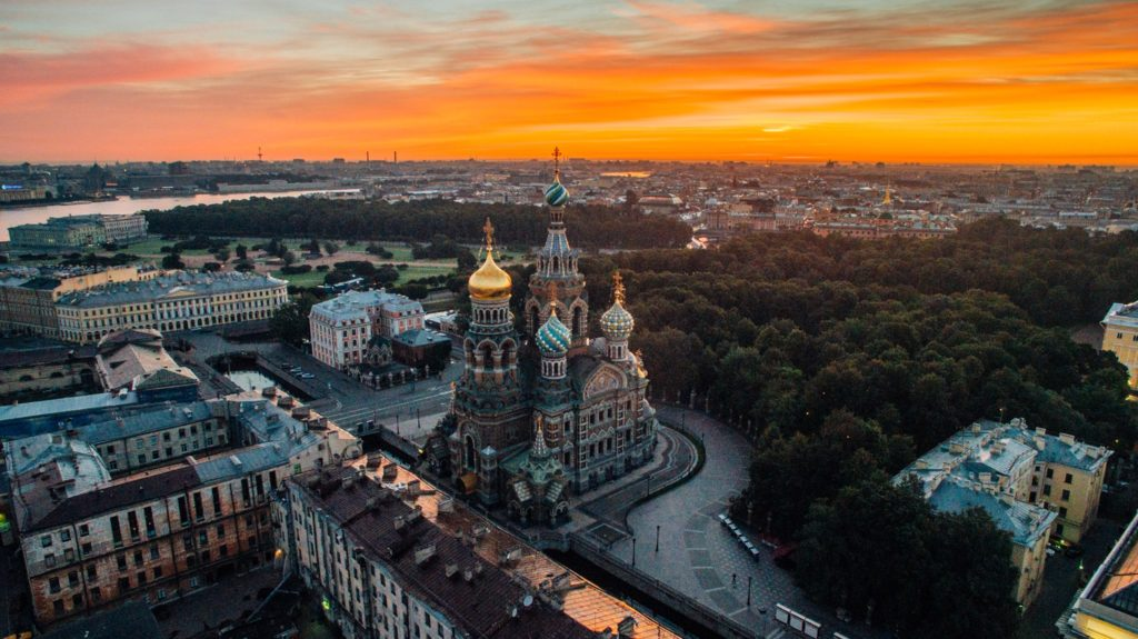 Sunset over St. Petersburg, Russia