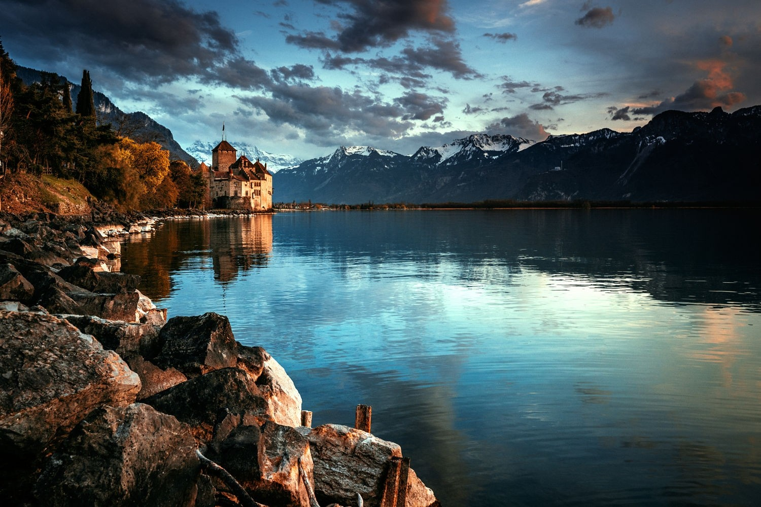 Castle on the lake in autumn