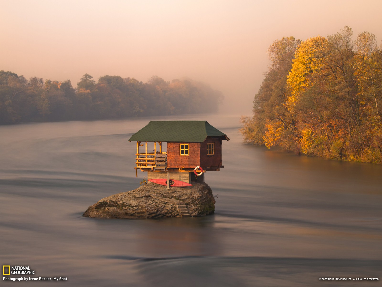 Autumn - tiny house on the river