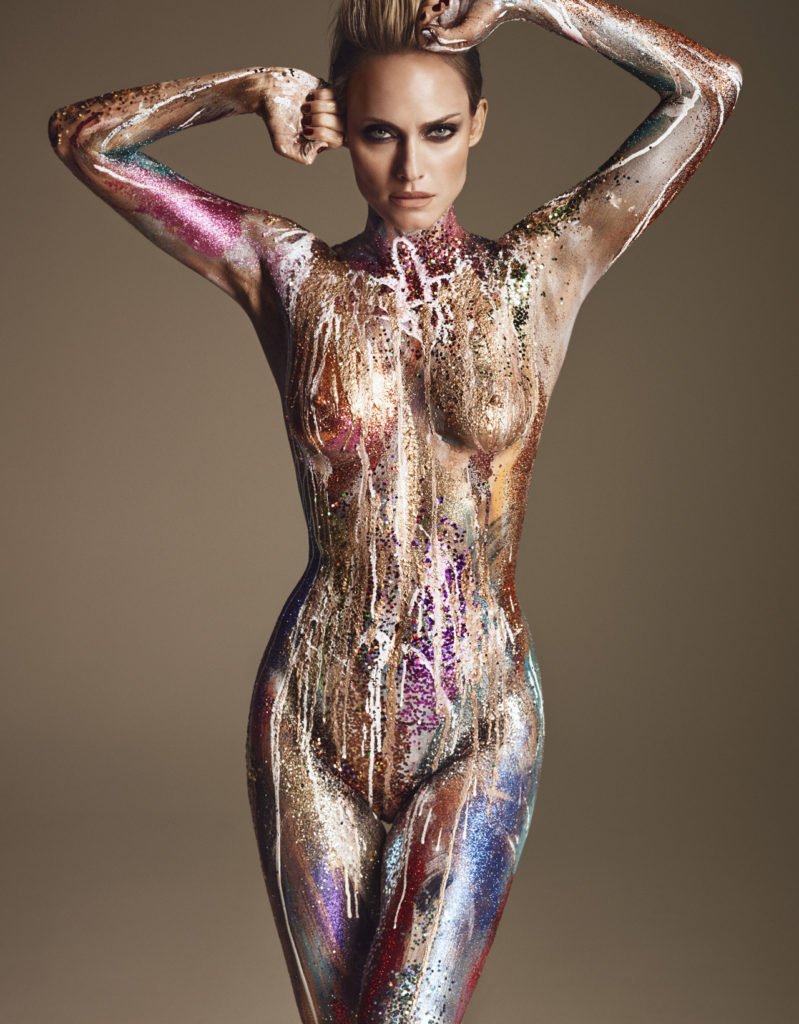 Amber Valletta nude body paint
