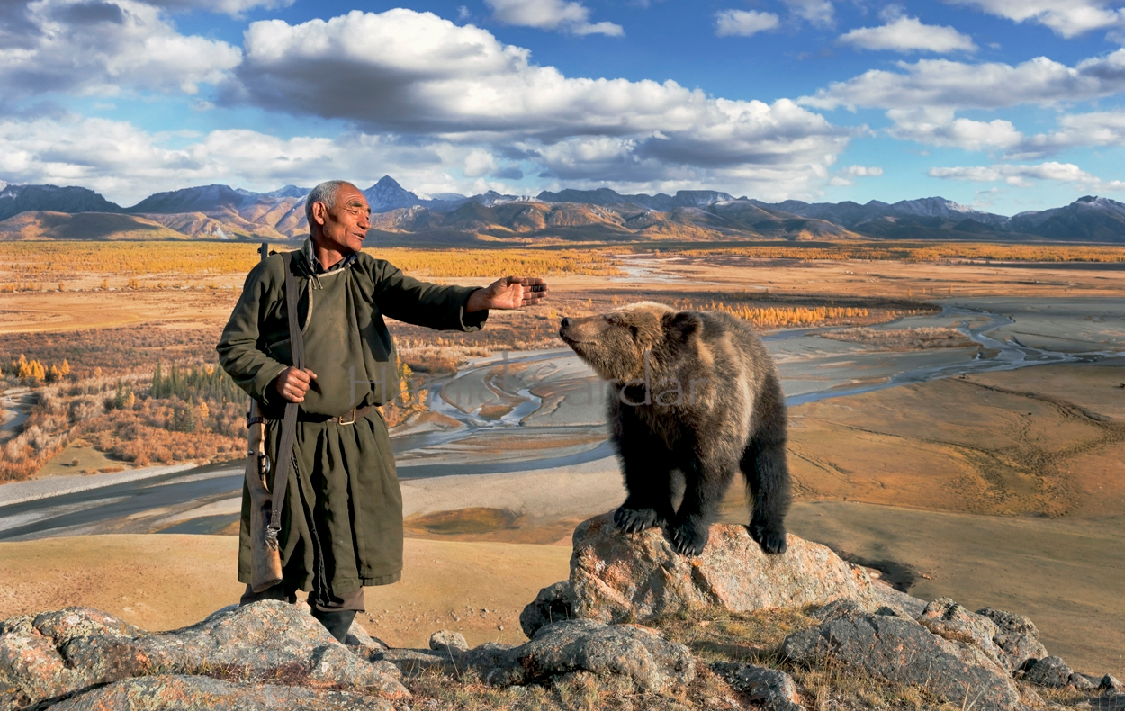 Old man with a bear, Mongolia