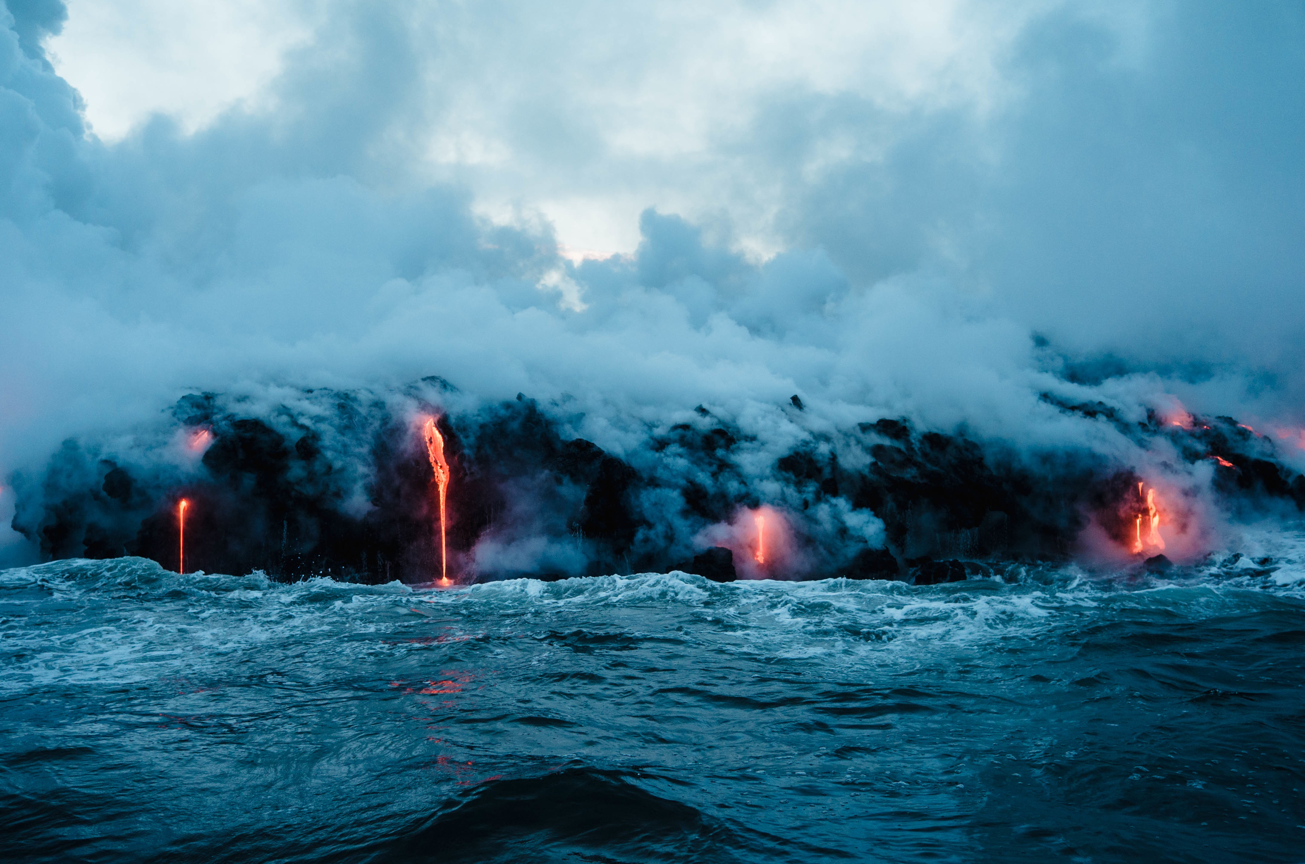 Volcanic lava encountering the sea
