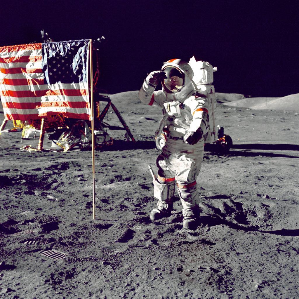 Cernan Jump Salutes Flag, Apollo 17