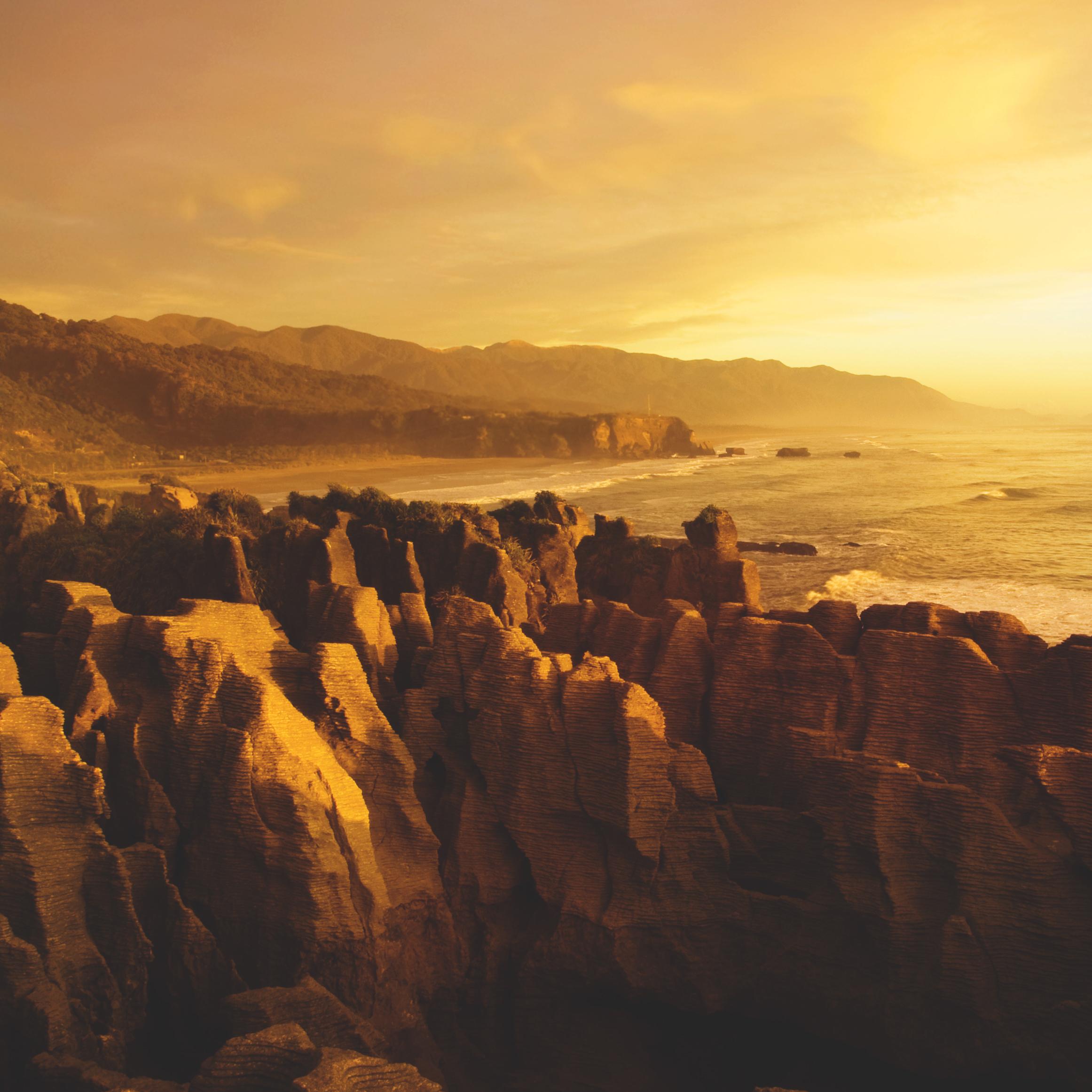 Pancake rocks and beach