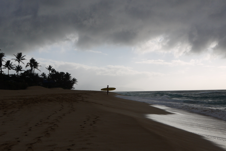 Surfer in Sunset beach, Hawaii