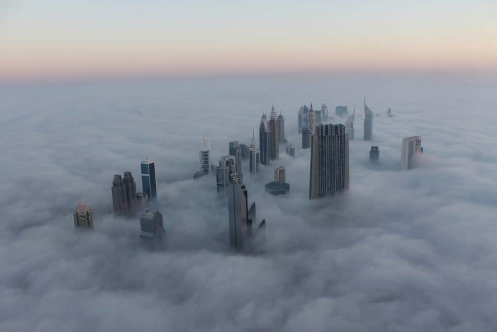 Dubai skyline in the clouds