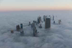 Dubai skyline in the clouds
