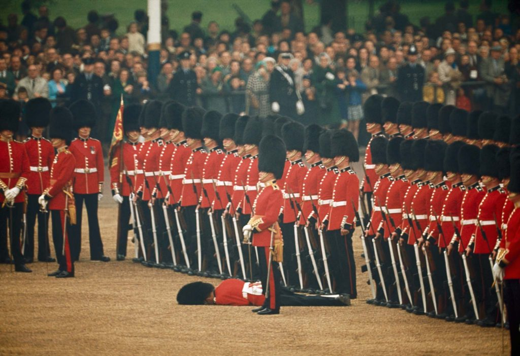 Irish guard fall, London, UK, 1966