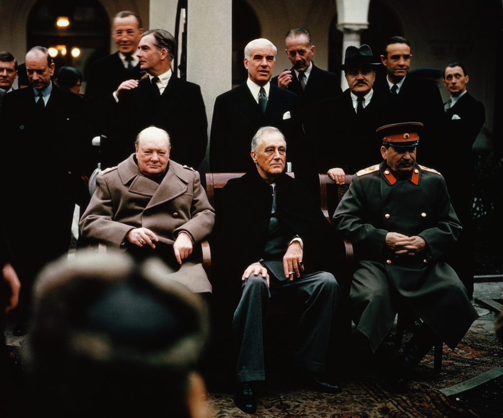 World Leaders Stalin, Roosevelt and Churchill at the Yalta Conference, 1945