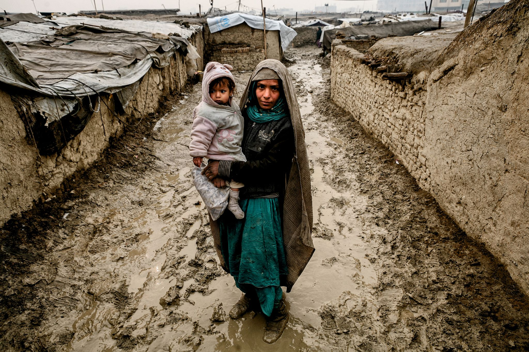 Mother and child refugees