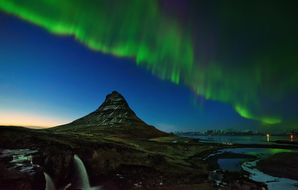 Aurora above Kirkjufell mountain, Iceland