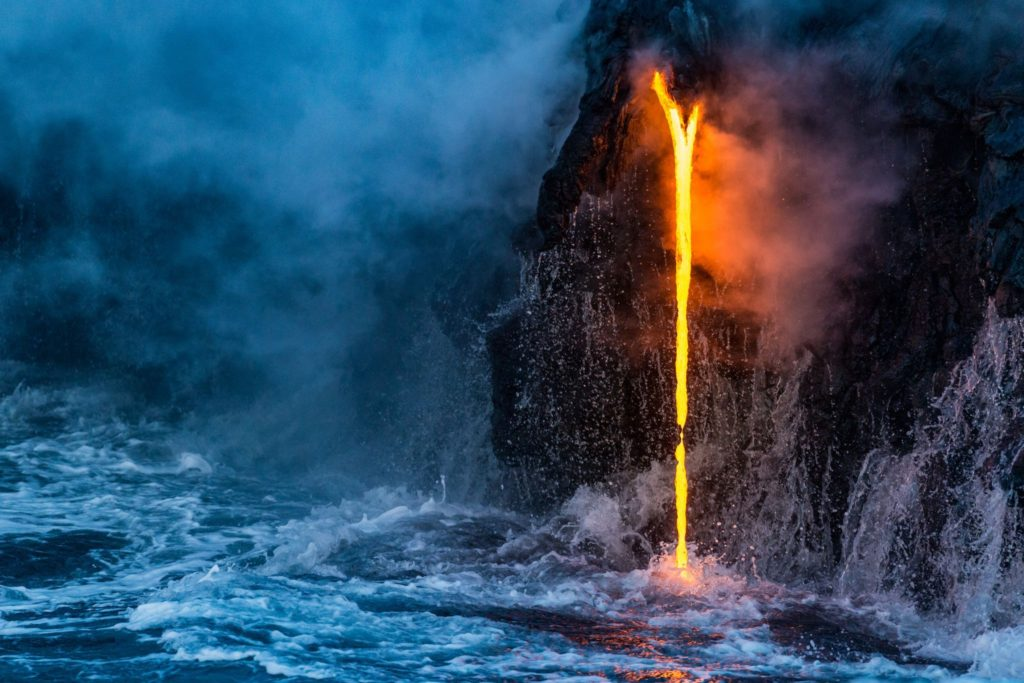 Lava projected into the ocean