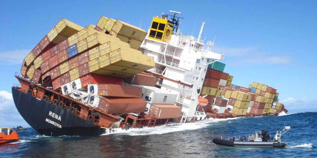 Giant ship Rena aground in Tauranga, New Zealand