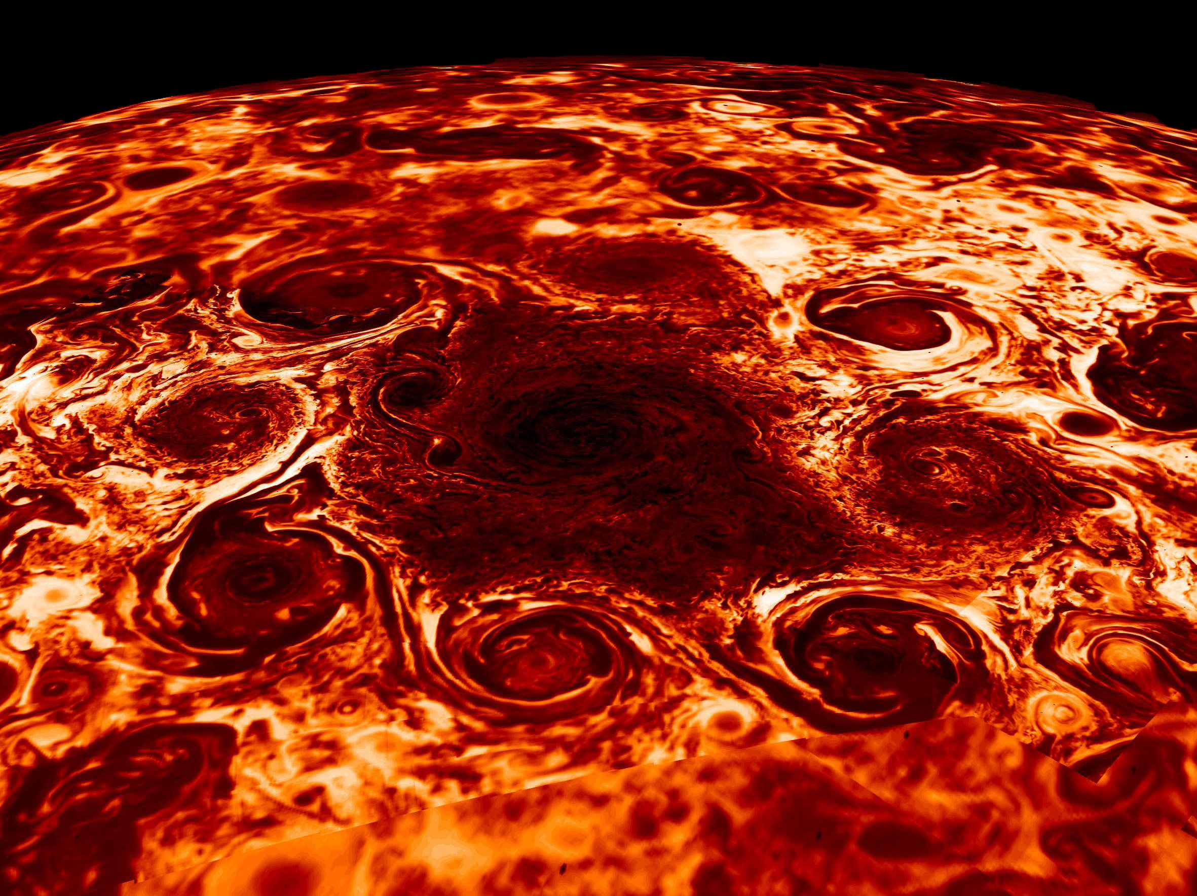Jupiter North Pole Large Cyclone
