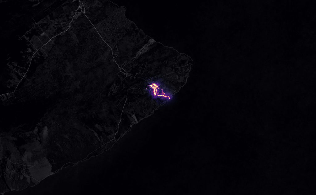 Kilauea lava seen from space