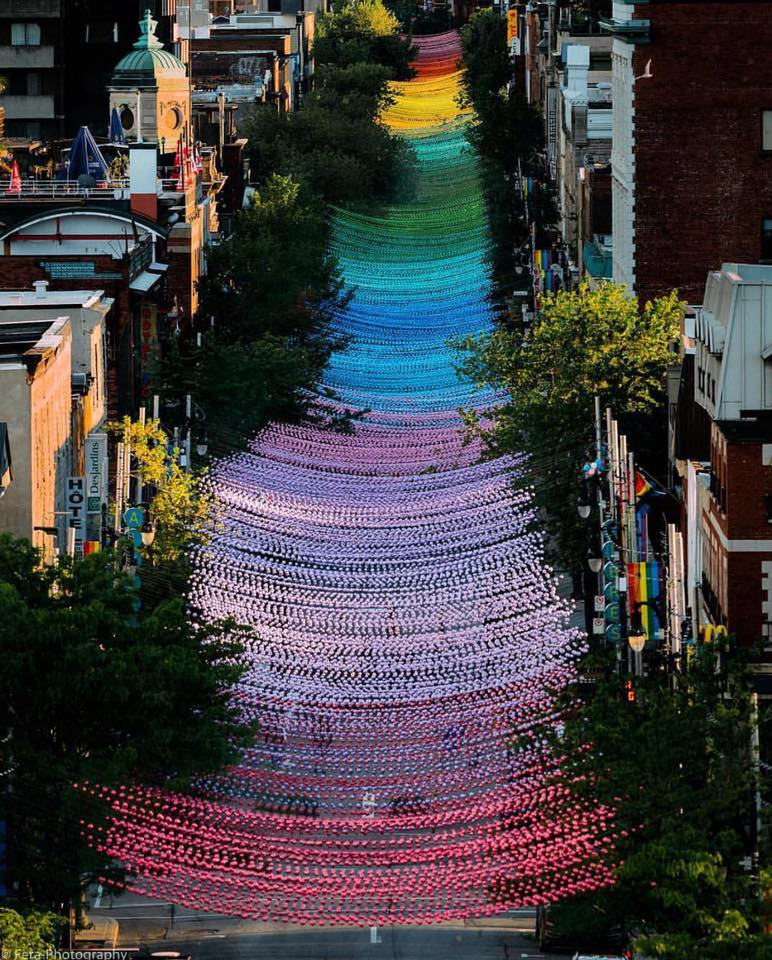 Rainbow balls, Gay Village, Montreal