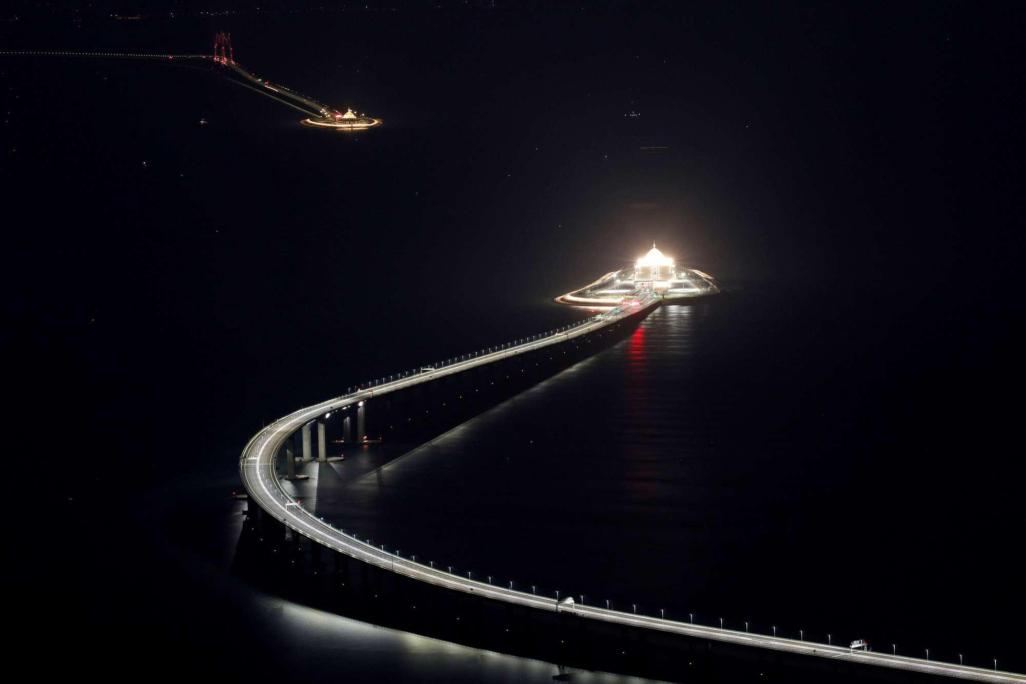 Hong Kong-Zhuhai-Macau bridge off Lantau island