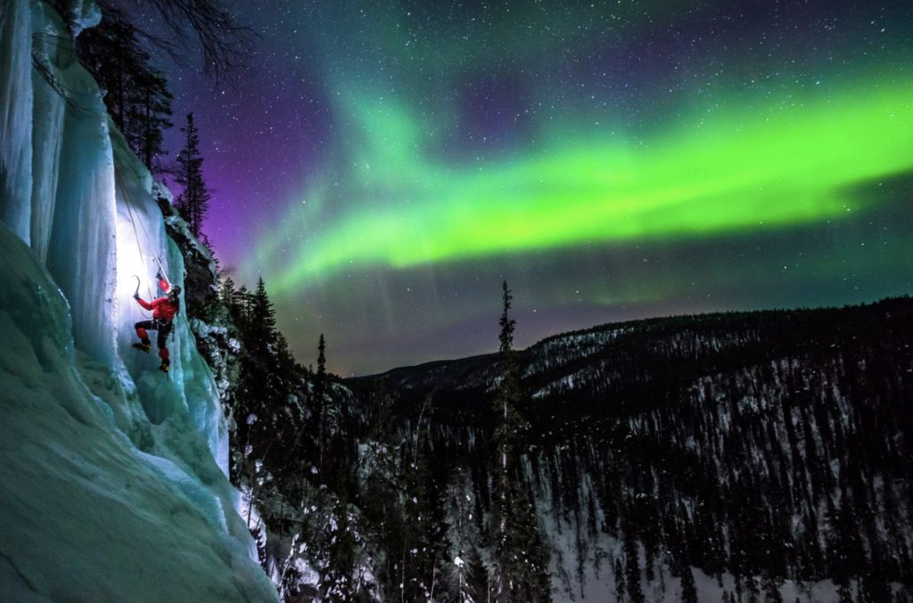 Ice Climbing under the Aurora Borealis