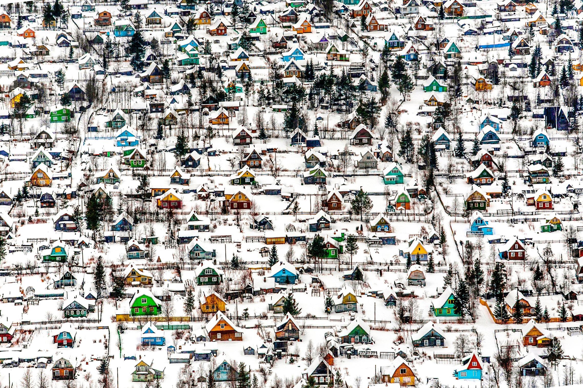 Russian dachas near the city of Arkhangelsk