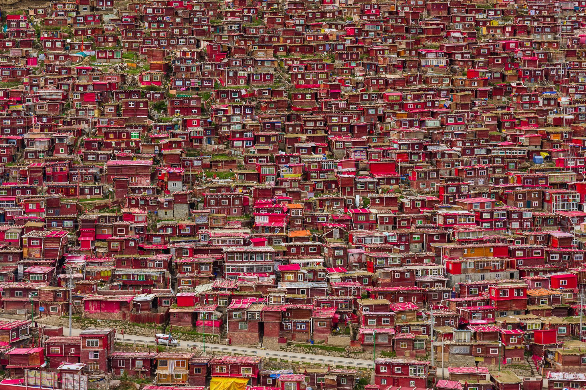 Houses on hill, Tibet, China