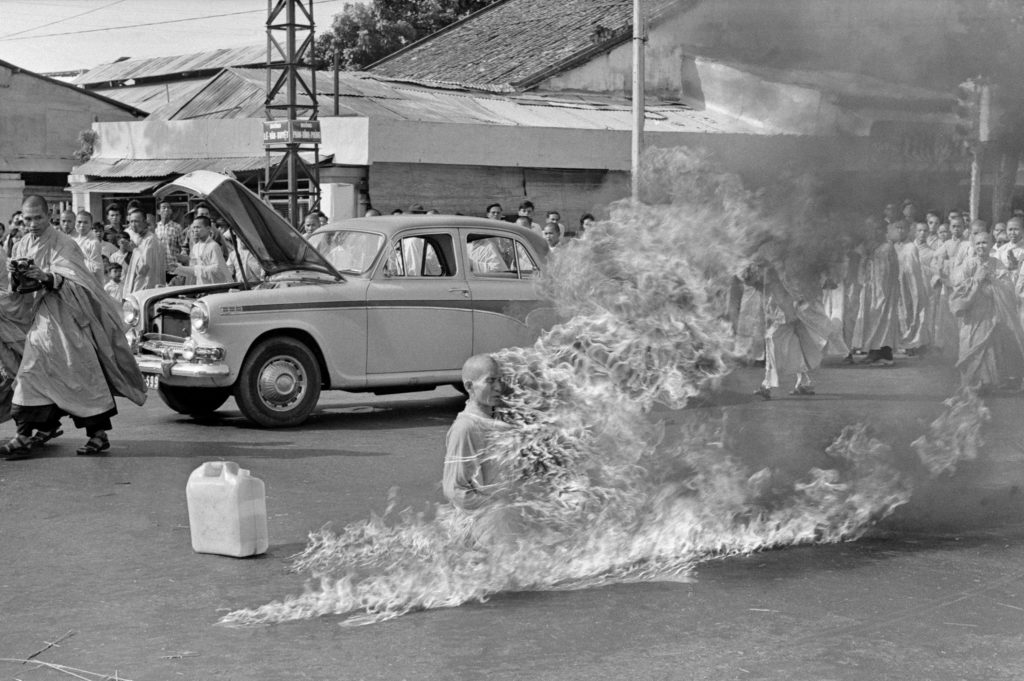 Thích Quảng Đức, a Buddhist monk, burns himself to death to protest against religious persecution, Saigon, Vietnam, 1963