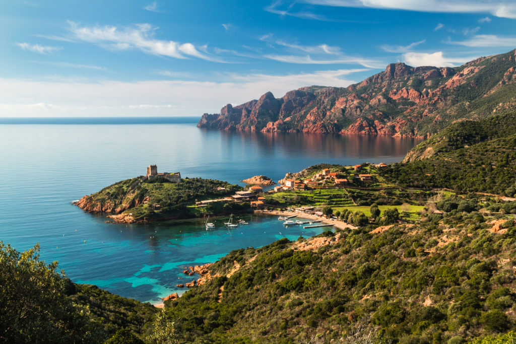 Orange cliffs, Corsica, France