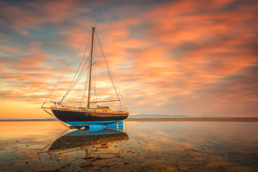Boat in sunset