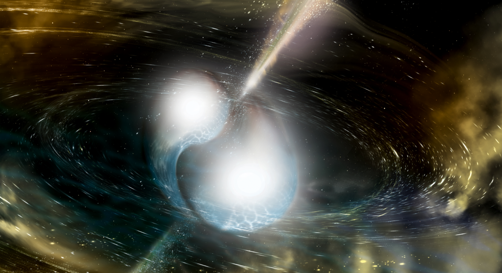 Shock between two neutron stars