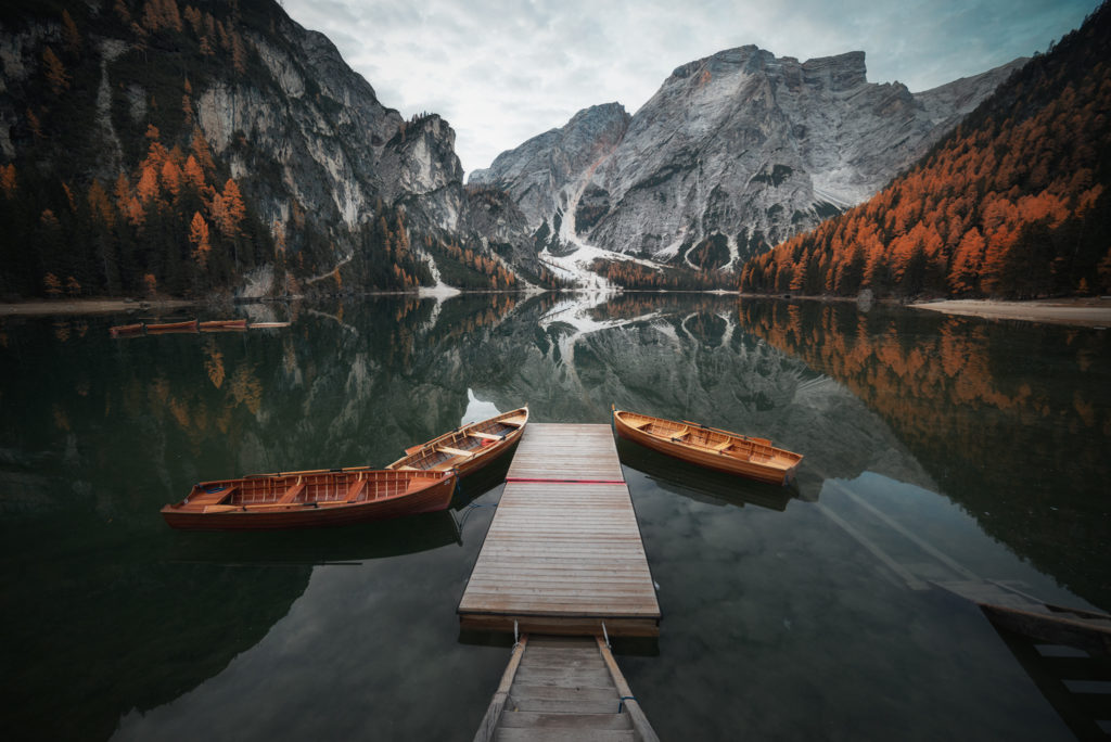 Braies Lake, Dolomites, Italy,