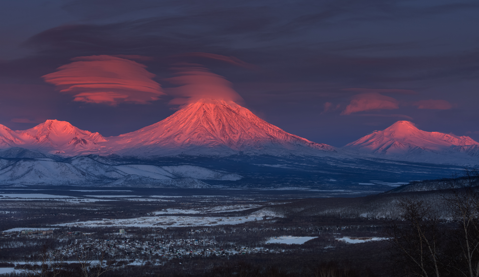 Koryaksky and Avachinsky volcanoes, Kamchatka, Russia