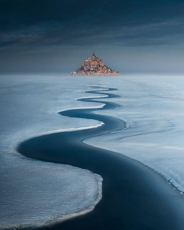 Mont Saint-Michel under the snow, France